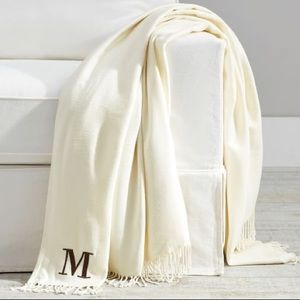 Pottery Barn Hand Knotted Fringe Monogram Throw